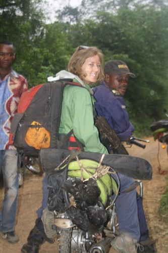 The communications team travelled by motorbike to the Tumba-Lediima Reserve, accompanied by local government officials, police, and some chickens. Babatope Akinwande.